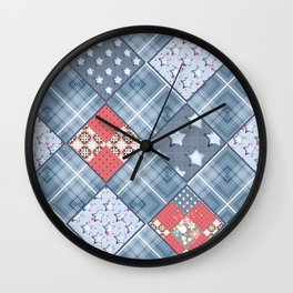 Pale blue patchwork Wall Clock