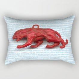 Red panther on blue grass Rectangular Pillow