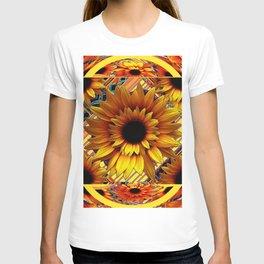 AWESOME GOLDEN SUNFLOWERS  PATTERN ART T-shirt