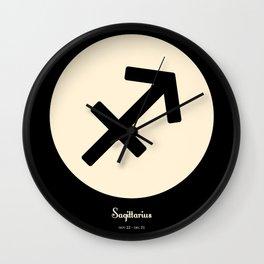 Sagittarius Symbol Black Wall Clock