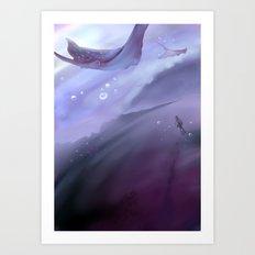 Drop in a purple ocean Art Print