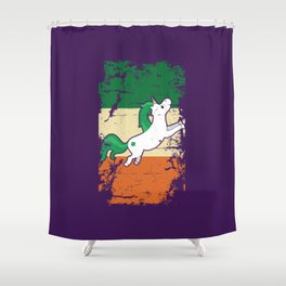 Distressed Irish Flag St Patrick Unicorn Purple Shower Curtain