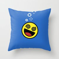 emoji Throw Pillows featuring Drunk Emoji by Birds & Kings