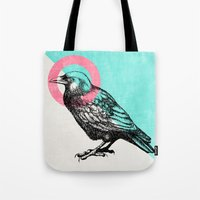 techno Tote Bags featuring Techno Crow by Zeke Tucker