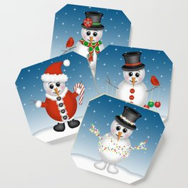Cute Snowmen with Ornaments, Candy Cane and Strand of Lights Coaster