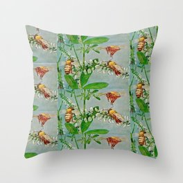 Vintage illustration bees Throw Pillow