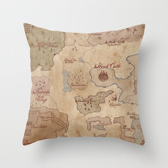 Zelda Throw Pillow : Map of Hyrule- Legend of Zelda Throw Pillow by Kaz Palladino & Awkward Affections Society6