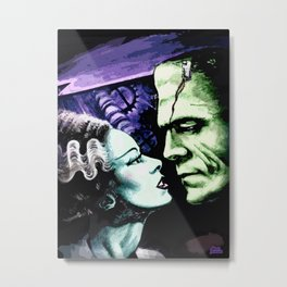 Bride of Frankenstein Monsters in Love Metal Print