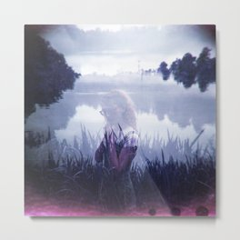 Girl Hiding in the Reeds - Film Double Exposure Photograph Metal Print