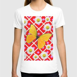 Red Color Shasta Daisys & yellow butterfly Pattern Garden Art T-shirt