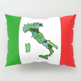 Map of Italy and Italian Flag Pillow Sham