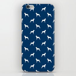 Boxer dog breed pattern dog gifts navy and white minimal dog silhouette iPhone Skin