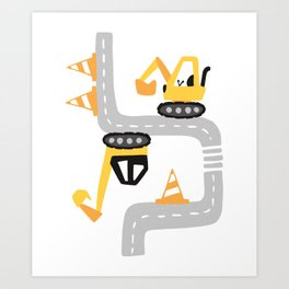 Excavator road work Art Print