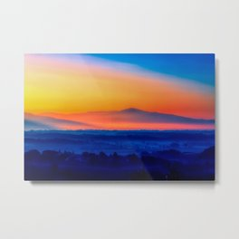 Yellow sky with mountain on sunset time Metal Print