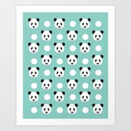 Panda polka dots pattern print minimal trendy kids design pillow cell phone cute panda cub character Art Print