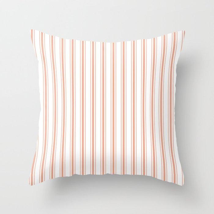 Large Shell Coral Peach Orange Mattress Ticking Stripes Throw Pillow