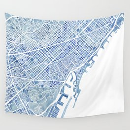 Barcelona Blueprint Watercolor City Map Wall Tapestry