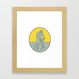 Construction Worker Operating Jackhammer Oval Drawing Framed Art Print