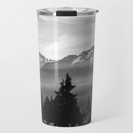 Morning in the Mountains Black and White Travel Mug