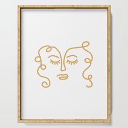 Curly Hair Don't Care - Minimalist Line Drawing Portrait of a Woman in Mustard Yellow on White Serving Tray