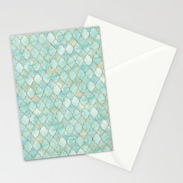 Luxury Aqua and Gold oriental pattern Stationery Cards
