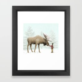Winter Moose Framed Art Print