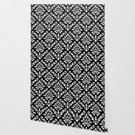 Damask Baroque Pattern White on Black Wallpaper