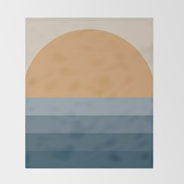 Minimal Retro Sunset / Sunrise - Ocean Blue Throw Blanket