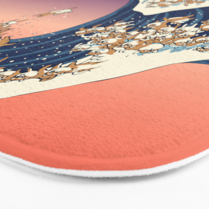 The Great Wave of Shiba Inu Bath Mat