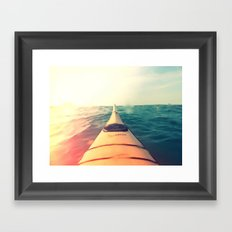 Yellow Kayak in Water Color Nature Photography Framed Art Print