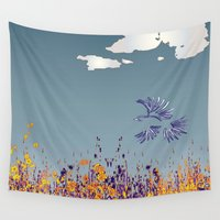 pigeon Wall Tapestries featuring pigeon by Shelby Claire