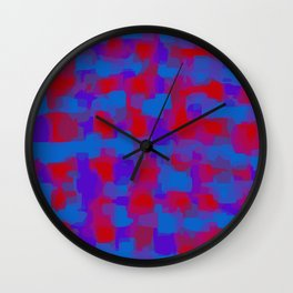 blue purple and red pattern painting abstract background Wall Clock
