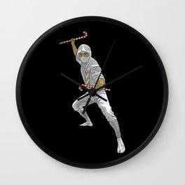 Christmas Ninja Black and White Wall Clock