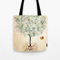 tree of life Tote Bags featuring Life Tree by Paula Belle Flores