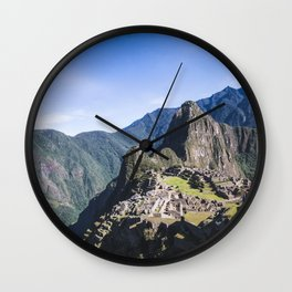 Machu Picchu | Landscape Photography of Historical Inca City Surrounded by Mountains Wall Clock