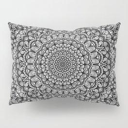 Gray colors mandala Sophisticated black and white ornament Pillow Sham