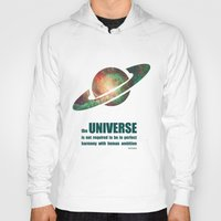 sagan Hoodies featuring Carl Sagan Tribute- the UNIVERSE is not required to be in perfect harmony with human ambition by pennyprintables