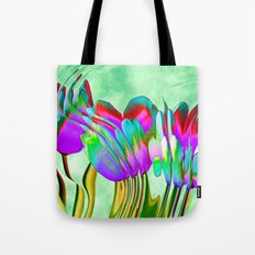 Tulips behind wavy glass Tote Bag