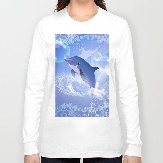 Funny cartoon dolphin Long Sleeve T-shirt
