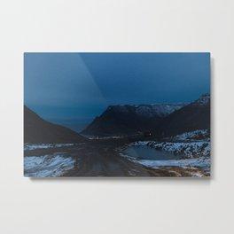 Fjord Night Drive Metal Print