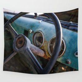 Behind the Old Steering Wheel Wall Tapestry