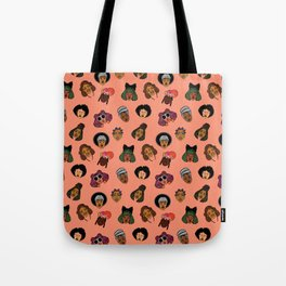 Black Hair Magic (Coral) Tote Bag