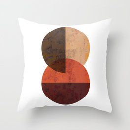 Terracotta Mid Century Abstract Circle Throw Pillow