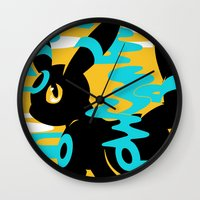 umbreon Wall Clocks featuring #197 - Umbreon (shiny ver.) by Solis