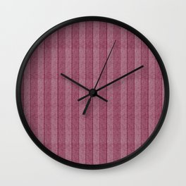 """Pink Vertical Lines Wool Texture"" Wall Clock"