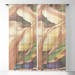 Leaves on the ground. brown, yellow, nature, decor, art, Society6. Sheer Curtain