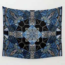 blue symmetric fantasy pattern IV Wall Tapestry
