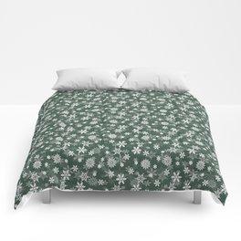 Christmas Evergreen Pine Garland Snow Flakes Comforters