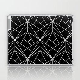 White Geometric Pattern on Black Background Laptop & iPad Skin