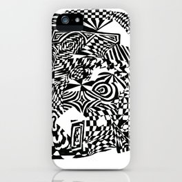 Face, Black/White Abstract (ink drawing) iPhone Case